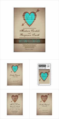 Arrow Heart Rustic Wedding Invitation Set Rustic Arrow and Heart Wedding Invitation Set with a vintage distressed background and a heart with an arrow going through it. Choose from teal accents, purple accents, or just brown. Barn Wedding Invitations, Invites, Wedding Envelopes, Wedding Stationary, Wedding Programs, Invitation Cards, Wedding Venues, Country Wedding Inspiration, Country Wedding Decorations
