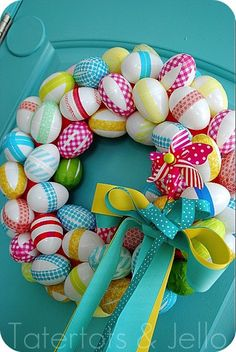 Easter wreath with plastic eggs and washi tape.