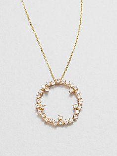 KALAN by Suzanne Kalan - 14K Gold White Sapphire Circle Pendant Necklace