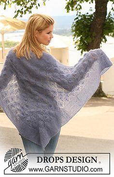 """Ravelry: 121-30 Shawl with garter st and lace pattern in """"Kid-Silk"""" pattern by DROPS design free pattern"""