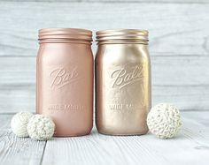 Rose gold wedding, mason jars. Ball widemouth quarts. Blush gold.