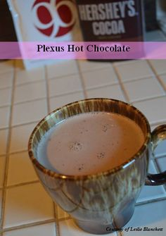 Plexus Hot Chocolate  1 Pack Plexus 96 (chocolate or vanilla flavor) 2 tablespoons unsweetened cocoa powder (if using vanilla 96) 1 cup coconut milk  Honey to taste (optional)    Mix P96 and cocoa powder in a bowl. Warm milk in the microwave for about 1 minute. Pour milk into bowl and whisk together until powders are completely dissolved. Add honey to sweeten.