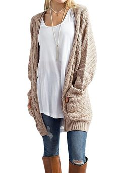 bd0bf71e0f FISACE Women s Long Sleeve Knitwear Open Front Cardigan Sweaters Outerwear  with Pocket at Amazon Women s Clothing