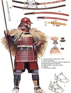 Samurai in foul weather gear c1550 | arms and armor | Pinterest