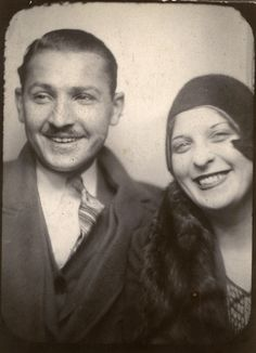 +~ Vintage Photo Booth Picture ~+  Love these two!  Dottie & Jack, 1929
