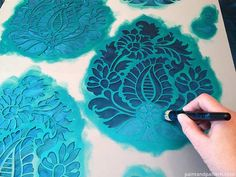Raj damask Indian stencil from Royal Design Studio. Stenciling on silk fabric with Royal Stencil Creme paint