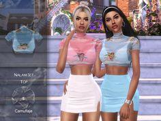 The Sims 4 mody do gry: Camuflaje - Nalani Set (spódnica) Mods Sims, Sims 4 Mods Clothes, Sims 4 Clothing, Les Sims 4 Pc, Sims Four, Sims 4 Tsr, Sims Cc, Maxis, Sims 4 Traits