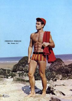 Christian Ferrand and Dominique Quillet Photographed by Jean Ferrero Boys Keep Swinging, Beach Attire, Shorts With Tights, Beach Bum, Real People, Dandy, Male Models, Vintage Men, Vintage Photos