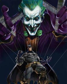 The Joker pulling batman string Nightwing, Batwoman, Comic Book Villains, Comic Books Art, Comic Art, Der Joker, Joker Art, Gotham Joker, Dc Comics Art