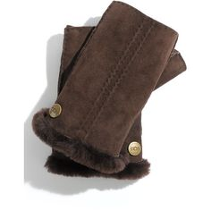 Ugg® Australia 'classic' Shearling Fingerless Gloves ($95) ❤ liked on Polyvore featuring accessories, gloves, shearling fingerless gloves, ugg australia, ugg australia gloves, fingerless gloves and shearling gloves