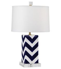 Santorini Stripes Accent Lamp - Mary McDonald does chevron like no one else! With a sharp white parchment shade, this lamp would make a statement in any room. Modern table lamps by Lamps Plus