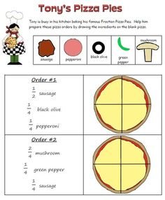 Make a pizza to learn about fractions.  Common Core Standards 3.NF.1, 2, 3