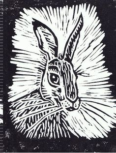 Sunny Side Up: Hare and There. Lino cut by Kerina Strevens