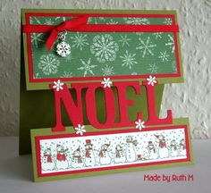 "Make your own ""gap"" card by following these instructions. Great way to use paper scraps and leftover embellishments. This one says NOEL and has a tiny snowflakes and a silver button on a red ribbon/bow."