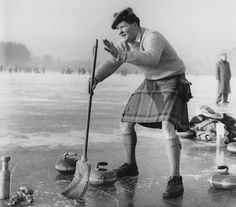 U.K. Curling Club on Lake Loch Leven, Kinross, Scotland, in 1959 // Photographer Unknown