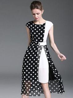 Polka Dot O-Neck Sleeveless Slit Skater Dress - - Trendy Dresses Elegant Dresses, Beautiful Dresses, Casual Dresses, Short Dresses, Halter Dresses, Trendy Dresses, Silk Dress, Dress Skirt, Women's Fashion Dresses
