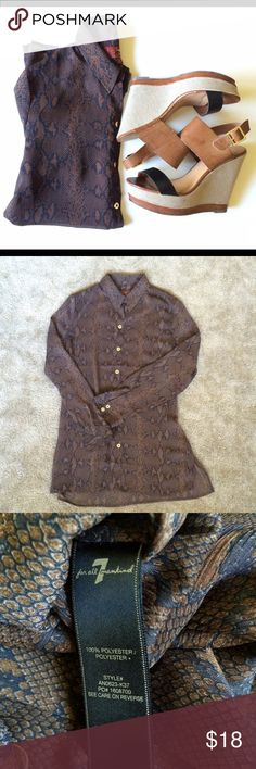 Nwot Seven snakeskin tunic blouse Super chic snakeskin collared blouse! Nwot, colors are brown and a very dark navy blue that looks black. Has gold buttons up front and on sleeves. Seven7 Tops Button Down Shirts