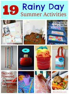19 Rainy Day Summer Activity Ideas from MomAdvice.com.