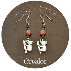 Boucles d'oreilles koala et  perle à motifs fleurs fimo orange