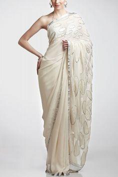 Satya Paul Ivory Sari - New In ScarletBindi.com