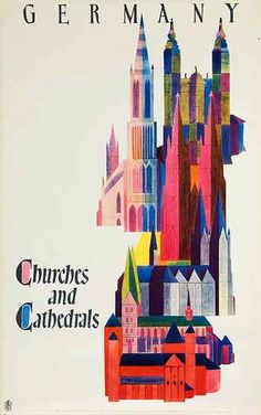 DP Vintage Posters - Churches and Cathederals Original Vintage German Travel Poster