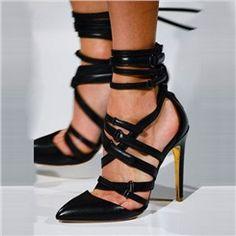 Shoespie Blacke Straapy Buckles Stiletto Heels