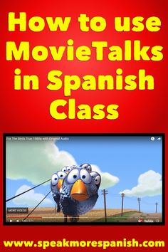 Free Spanish Lesson plan for teachers. Learn how to use MovieTalks in Spanish Class, download the Free PDF and Google Slides Vocabulary Presentation at www.speakmorespanish! Great fun for Spanish classes! High School Spanish, Ap Spanish, Spanish Teacher, Spanish Classroom, How To Speak Spanish, Learn Spanish, Free Spanish Lessons, Spanish Lesson Plans, Spanish Language Learning