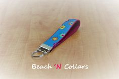 Pink & Blue Flowered Faces Key Fob/Wristlet by Beachcollars on Etsy
