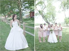 mismatched bridesmaid dresses PLUS look at the brides dress---!!!