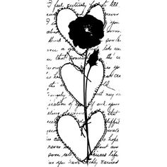 Rose Stemmed Hearts Wood Mounted Stamp by Christine Adolph - Stampington