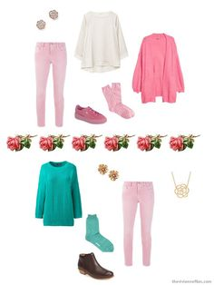 two ways to wear pink jeans from a Tote Bag Travel wardrobe