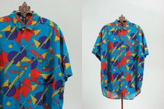 Mens 80s 90s Blue Beach Shirt L by snootieseconds on Etsy, $39.00