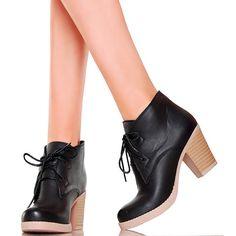 Krótkie Wiązane Botki w Trzech Kolorach BLACK - www.BUU.pl #black #shoes #women