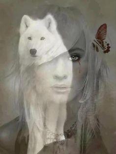 goth art. girl. wolf
