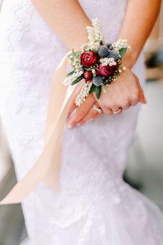 Florals, Red, Green, Blue, Wrist Corsage