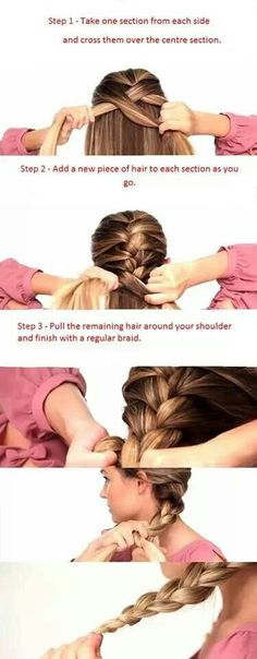 Easier way to help you French braid your own hair! Plus this will help me to french braid Chelsea's hair. I suck at the french braid. My Hairstyle, Hairstyles With Bangs, Pretty Hairstyles, Braided Hairstyles, Hairstyle Ideas, Trending Hairstyles, Beauty Tutorials, Beauty Hacks, Hair Tutorials