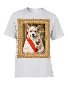 Queen Corgi T-Shirt Funny Dog Royalty Quirky Portrait White T | eBay