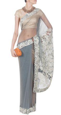 SHEHLA KHAN Grey net sari with gota work - Available from Pernia's Pop Up Shop