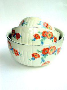 Vintage Hall's China Nesting Bowls Set of by widgetsandwhatsus, $50.00