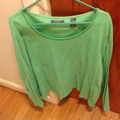 Seafoam green long sleeve shirt Liz Claiborne seafoam green long sleeve shirt with green beading at neckline. Second photo shows where the right sleeve was sewn together. Third photo shows large semi-sewn hole in right sleeve. Super soft! Liz Claiborne Tops