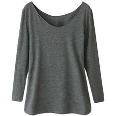 Gray Ladies Crew Neck Plain Long Sleeve Modal Cotton T-shirt ($15) ❤ liked on Polyvore featuring tops, t-shirts, grey, gray t shirt, grey long sleeve t shirt, crew neck tee, grey tee and cotton tee