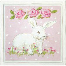 Bunny Facing Right Deco Framed Art