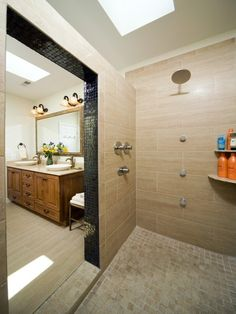 My dream shower would be this big but with shower heads on all three walls plus one on the ceiling. Would also be great to put in a glass door to turn the whole shower into a steam room.