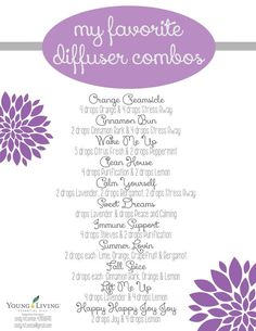 These are some of my favorite essential oil diffuser blends. Are you interested in purifying the air in your home and making it smell amazing at the same time? If so, contact me, I'd love to help you on your journey. Cindy.hitzeman@gm... Young Living Distributor #2808690