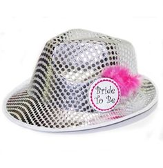 Silver Sequin Bride Fedora - A perfect Bachelorette Party or Bridal Shower hat - SALE $6.99 exclusively at The House of Bachelorette