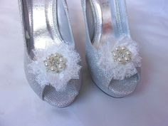 Ivory Lace & Pearl Stud Ruffle Shoe Clips Bridal Brides Wedding Accessory Prom #ivory #ivoryshoeclips #shoeclips #shoeaccessory #bridalideas #weddingideas #weddingideasonabudget Ivory Shoes, Satin Shoes, Shoe Clips, Pearl Studs, Lace Fabric, Bridal Shoes, Wedding Accessories, Weddingideas, Indigo