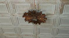 original tin ceiling with original light fixture Imperial Theater, Candle Sconces, Light Fixtures, Tin, Wall Lights, Ceiling, Candles, The Originals, Home Decor