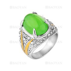 anillo de piedra verde brillante acero plata inoxidable -SSRGG271907
