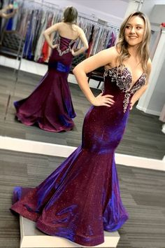 Glitter Strapless Mermaid Grape Long Prom Dress vp7226 by VestidosProm, $146.92 USD