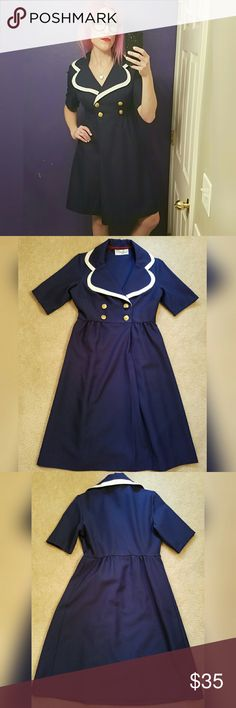 Cute and preppy, sailor girl, VINTAGE dress!! Love the gold buttons! Excellent condition. Brand is Plaza South. Size is 6. Unlike most vintage sizing, this fits pretty true to size. Vintage Dresses